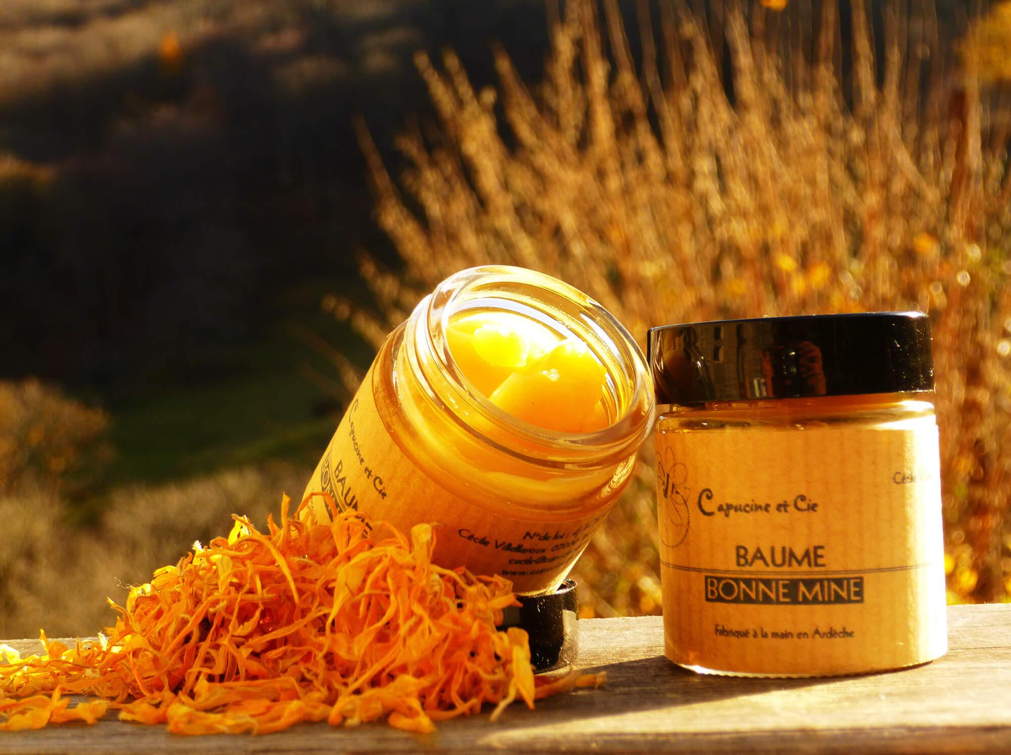 baume bonne mine carotte et abricot capucine compagnie cosm tiques naturels en ard che. Black Bedroom Furniture Sets. Home Design Ideas